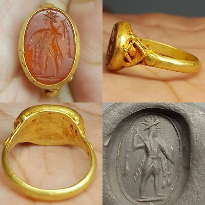 Beautiful Ancient Roman   Pure Solid Gold  Intaglio Ring Very Rare