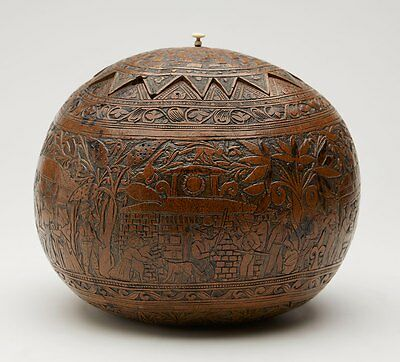 Museum Quality Hand Carved Gourd Container C.1800