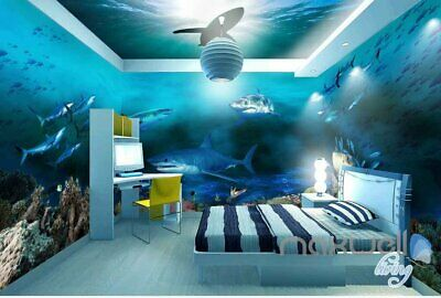 3D Sharks Shadow Underwater Entire Room Wallpaper Wall Murals Art Prints