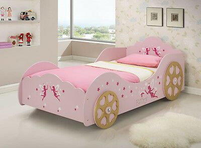 KIDS Girls PINK Fairy Star PRINCESS CARRIAGE Single CAR BED Bedroom TIMBER SLAT