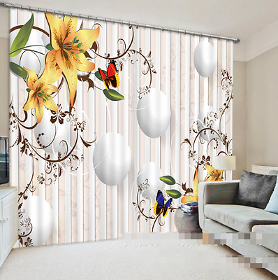 3D Lily Circle Blockout Photo Curtain Printing Curtains Drapes Fabric Window CA