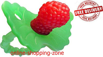 RazBerry Teether Non Toxic Baby Dummy Raspberry Silicone Toy Soothe Gums