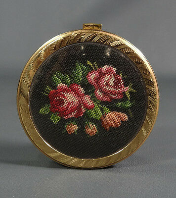 Art Deco Vienna Petit-point Tapestry Embroidery Lady Mirror Compact Powder Case