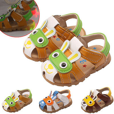 Toddler Kids Baby Boys Girls Summer Sandals Flashing Lights Anti-slip Crib Shoes