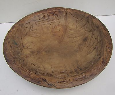 Old Asian? Carved Wooden Bowl