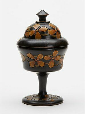 Antique Carved Wood Floral Decorated Container 19Th C.