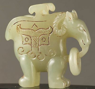 Chinese old natural hetian jade hand-carved sheep wine cup 爵 NO.Y207