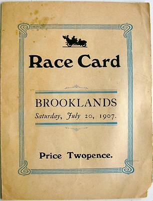 BROOKLANDS Second Meeting July 20th 1907 Official Motor Race Card 1907