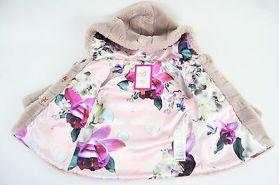 Ted Baker Pretty Baby Girls Hooded Fur Coat Bow Ribbon 9-12 Months