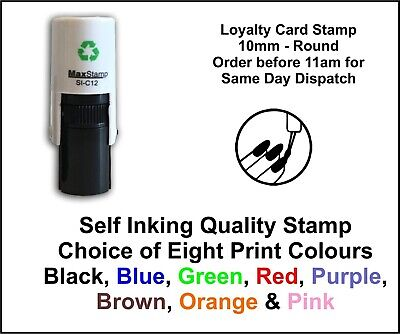 Loyalty Card Stamp Nails Varnish Professional Quality Self Inking 10mm FREE POST