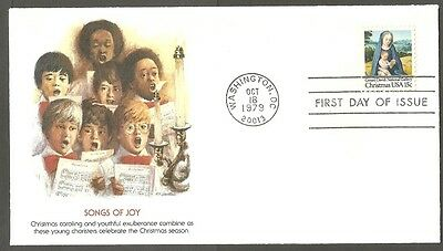 Us Fdc 1979 Christmas Songs Of Joy 15C Stamp Fleetwood First Day Of Issue Cover