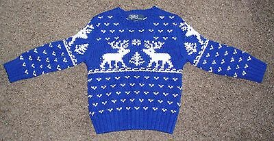 Polo Ralph Lauren Toddler Boys Size 2 2T Sweater Deer Snowflakes VGC!!!