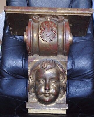 Huge Post Medieval English Gilded Wood Wall Bracket Of A Cherub'S Face