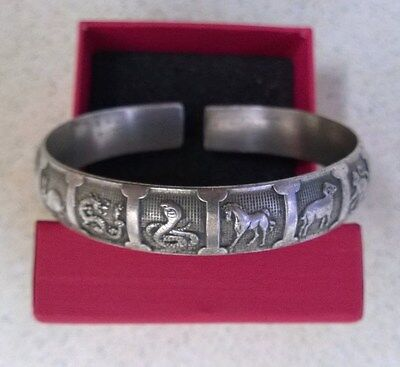 Fantastic Chinese Carved Miao Silver Coloured Metal Zodiac Bracelet - Adjustable