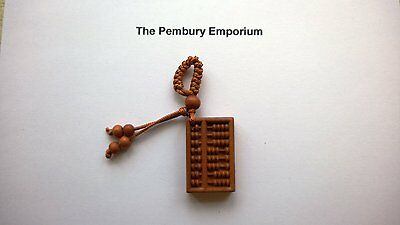 Chinese Wooden Abacus Pendant for a Necklace, Key Ring, Vehicle Talisman etc