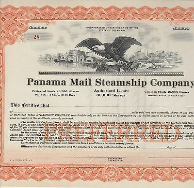 Panama Mail Steamship Company, Preferred Stock Certificate, Unissued Certificate