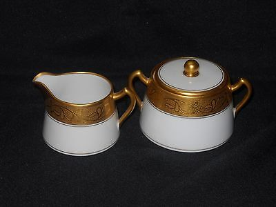 Vintage Pickard Creamer and Sugar Set gold on white about 2 1/2 to 2 3/4