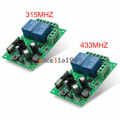 315MHz/433MHz 2 CH Channel Wireless RF Relay Remote Control Switch Receiver 220V