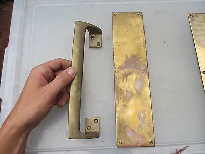 Vintage Brass Door Handles Set Pull & Finger Plate Architectural Antique Old