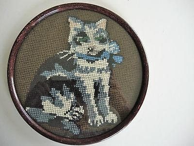 Swedish vintage 1930sframed & glazed round tapestry, cat with blue bow
