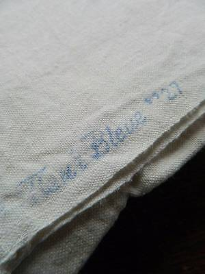 "Antique Unused Fleur Bleue French linen metis sheet. - 84"" x 116"""