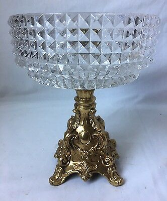 Vintage Cornell Diamond Cut Crystal Compote Candy Dish Footed Brass Metal Base