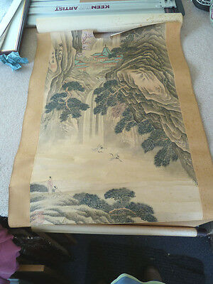 Large Oriental hand Painted Scroll - Signed / Seal Marks Circa 1900-1920