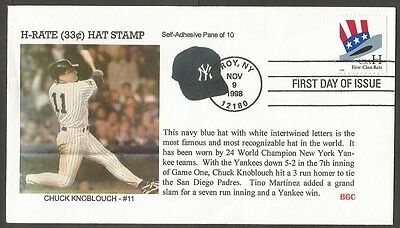 Us Fdc 1998 H First-Class Rate Stamp Baseball Ny Chuck Knoblouch-#11 Bgc