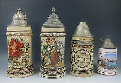 Set of 4 Antique Hand Painted/Molded German Steins Incised Star Mark