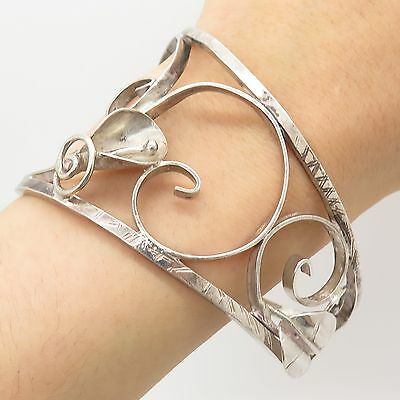 Old Pawn 925 Sterling Silver Unique Handmade Wide Floral Cuff Bracelet 8