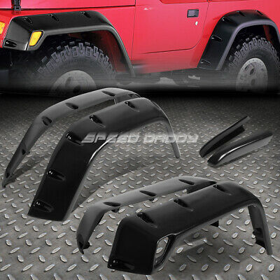 Pocket-Riveted Matte Abs Side Wheel Fender Flare/cover For 97-06 Wrangler Suv Tj