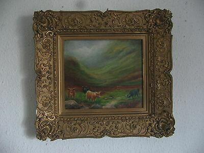 antique picture frame wood and gesso and original oil painting on board