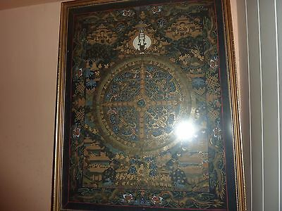 Vintage Tibetan/chinese H/p Silk Picture With Buddhist Figures/dragons & Temples