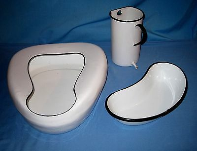 VTG Lot 3 Enamelware Bed Pan/IRRIGATOR/Kidney Basin Hospital White W/ Black trim