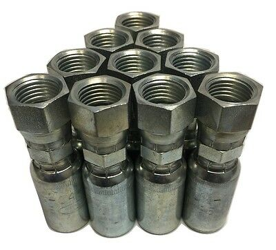 "(10) FJX-04-06 Hydraulic Hose Crimp Fittings 1/4"" x #6 JIC 37° Female USA MADE!"