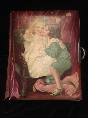Sweet Antique Victorian CELLULOID PHOTO ALBUM CHILDREN Empty Cabinet & CDV Pgs