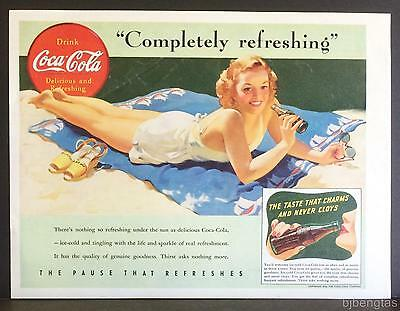 1941 Coca-Cola Bottle Beach Blanket Bathing Beauty Vintage Print Ad