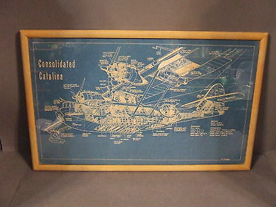 Consolidated Catalina Military Maritime Aircraft Blueprint Style Framed Picture