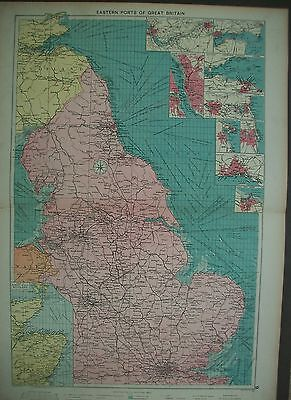 1920 UK Eastern Ports of Great Britain Harwich Mercantile Map Shipping Routes