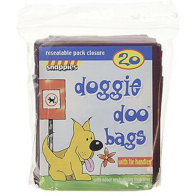 Snappies Doggie Doo Bags Poop bags  with Tie Handles and Neutralising Fragrance