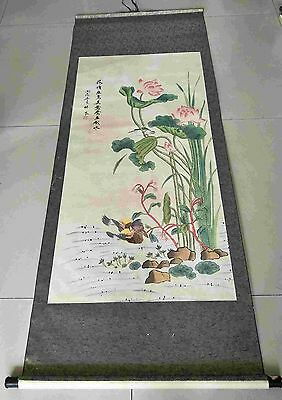 Chinese antiques hand painting scroll Lotus and bird by LINLIANG mark