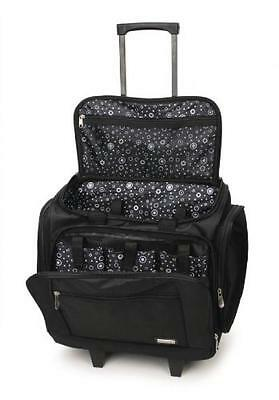 Rolling Scrapbook Tote Black Travel Suitcase Portable Scrapbooking NEW
