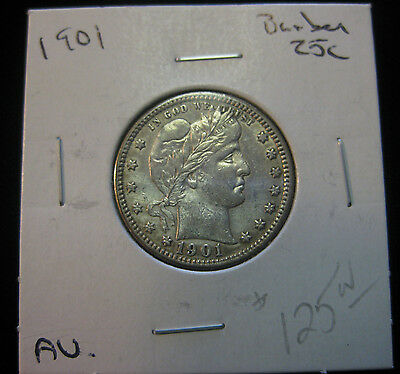 1901 25c Barber Quarter. Circulated. Nice amount of luster!  (0417274)