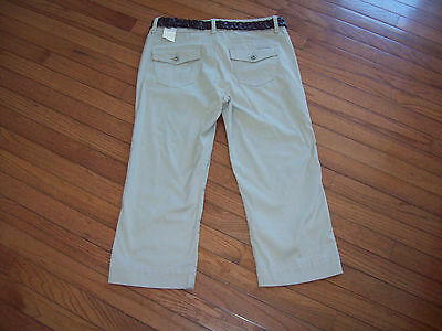 Womens Bandolinoblu Stretch Cropped Pants Size 12 Flap Pockets Nwt