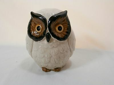 "Vintage 1960s White Owl Ceramic Piggy Coin Bank 4.5"" Tall Made in Japan"