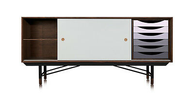 1955 Color Theory Mid-century Modern Sideboard Credenza, Walnut/Grey Drawers