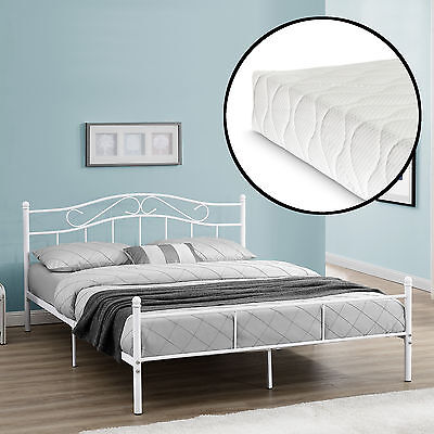 [en.casa] metal bedframe with Mattress 160x200cm White Bed Bedstead Double Bed