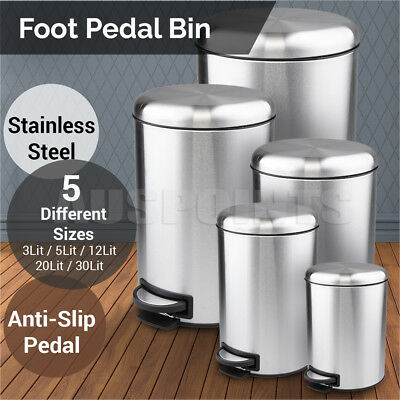 Pedal Bin Garbage Waste Trash Can Stainless Steel Rubbish Bins kitchen pull out