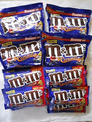 Lot of (12) M&M's CARAMEL Chocolate Candy Share Size 2.83 oz each