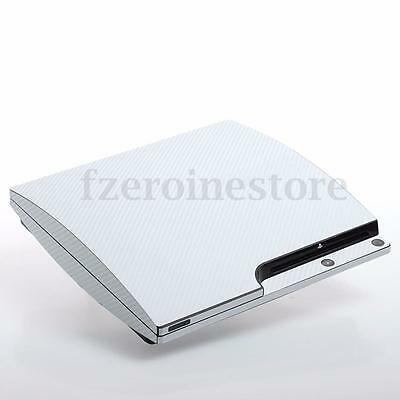 White Carbon PS3 Slim Textured Skins Full Body Wrap Decal Decor Sticker Cover